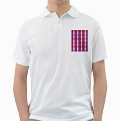 Gingham Pattern Checkered Violet Golf Shirts
