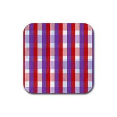 Gingham Pattern Checkered Violet Rubber Square Coaster (4 pack)