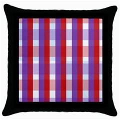 Gingham Pattern Checkered Violet Throw Pillow Case (Black)