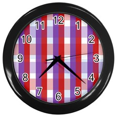 Gingham Pattern Checkered Violet Wall Clocks (black)