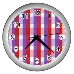 Gingham Pattern Checkered Violet Wall Clocks (Silver)
