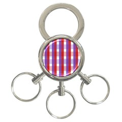 Gingham Pattern Checkered Violet 3-Ring Key Chains