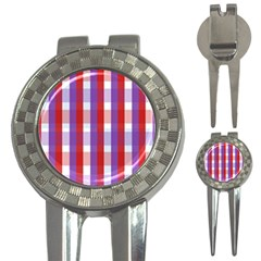 Gingham Pattern Checkered Violet 3 In 1 Golf Divots