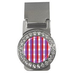 Gingham Pattern Checkered Violet Money Clips (cz)