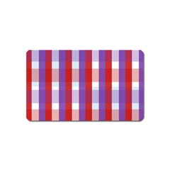 Gingham Pattern Checkered Violet Magnet (Name Card)