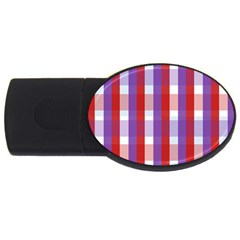 Gingham Pattern Checkered Violet USB Flash Drive Oval (1 GB)