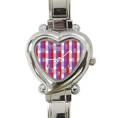 Gingham Pattern Checkered Violet Heart Italian Charm Watch