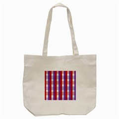Gingham Pattern Checkered Violet Tote Bag (Cream)