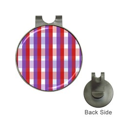 Gingham Pattern Checkered Violet Hat Clips with Golf Markers