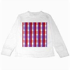 Gingham Pattern Checkered Violet Kids Long Sleeve T-Shirts