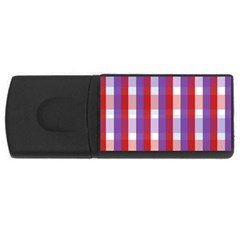Gingham Pattern Checkered Violet USB Flash Drive Rectangular (4 GB)