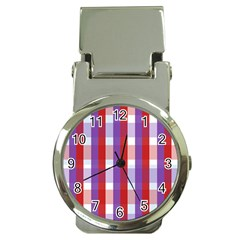 Gingham Pattern Checkered Violet Money Clip Watches