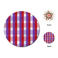 Gingham Pattern Checkered Violet Playing Cards (round)