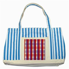 Gingham Pattern Checkered Violet Striped Blue Tote Bag