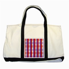 Gingham Pattern Checkered Violet Two Tone Tote Bag