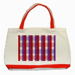 Gingham Pattern Checkered Violet Classic Tote Bag (Red)