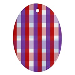 Gingham Pattern Checkered Violet Oval Ornament (Two Sides)