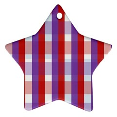 Gingham Pattern Checkered Violet Star Ornament (two Sides)