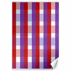 Gingham Pattern Checkered Violet Canvas 12  x 18