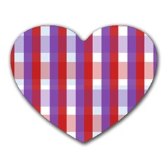 Gingham Pattern Checkered Violet Heart Mousepads