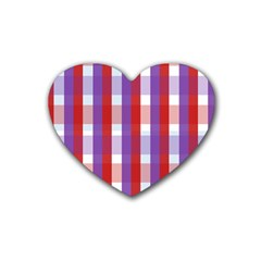 Gingham Pattern Checkered Violet Heart Coaster (4 Pack)