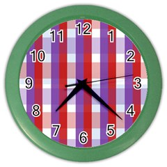 Gingham Pattern Checkered Violet Color Wall Clocks