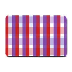 Gingham Pattern Checkered Violet Small Doormat
