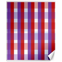 Gingham Pattern Checkered Violet Canvas 11  X 14