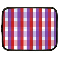 Gingham Pattern Checkered Violet Netbook Case (large)