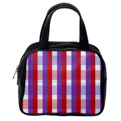 Gingham Pattern Checkered Violet Classic Handbags (one Side)