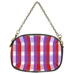 Gingham Pattern Checkered Violet Chain Purses (two Sides)