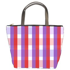 Gingham Pattern Checkered Violet Bucket Bags