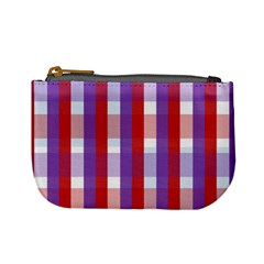 Gingham Pattern Checkered Violet Mini Coin Purses