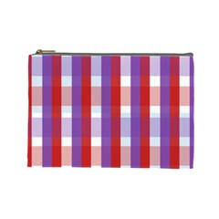 Gingham Pattern Checkered Violet Cosmetic Bag (large)