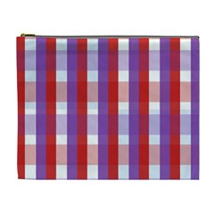 Gingham Pattern Checkered Violet Cosmetic Bag (xl)