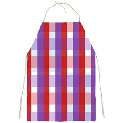 Gingham Pattern Checkered Violet Full Print Aprons