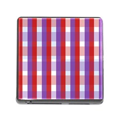Gingham Pattern Checkered Violet Memory Card Reader (Square)