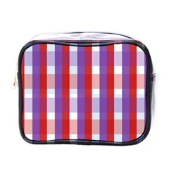 Gingham Pattern Checkered Violet Mini Toiletries Bags