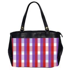 Gingham Pattern Checkered Violet Office Handbags (2 Sides)