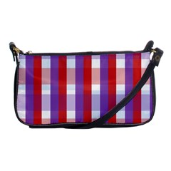 Gingham Pattern Checkered Violet Shoulder Clutch Bags