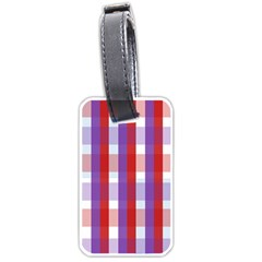 Gingham Pattern Checkered Violet Luggage Tags (Two Sides)