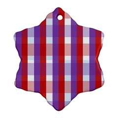 Gingham Pattern Checkered Violet Ornament (snowflake)