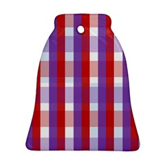 Gingham Pattern Checkered Violet Ornament (Bell)