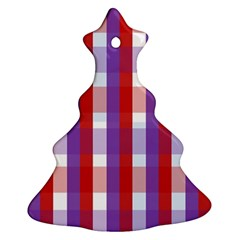Gingham Pattern Checkered Violet Christmas Tree Ornament (two Sides)