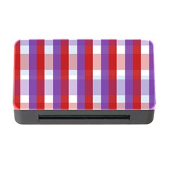 Gingham Pattern Checkered Violet Memory Card Reader With Cf