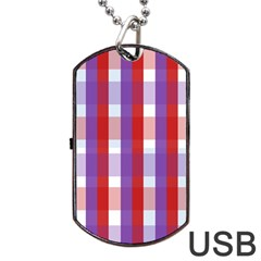 Gingham Pattern Checkered Violet Dog Tag Usb Flash (two Sides)