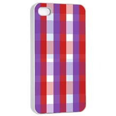 Gingham Pattern Checkered Violet Apple iPhone 4/4s Seamless Case (White)