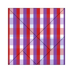 Gingham Pattern Checkered Violet Acrylic Tangram Puzzle (6  x 6 )