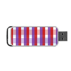 Gingham Pattern Checkered Violet Portable USB Flash (One Side)