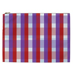 Gingham Pattern Checkered Violet Cosmetic Bag (XXL)